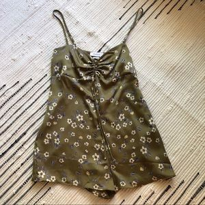 Green floral UO romper